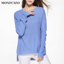 MOXFCIZO Sweater Shirt Women Jumper 2017 Spring Oversized Sweater Long Sleeve Knitwear Blue Loose Female Pullover Women Sweater