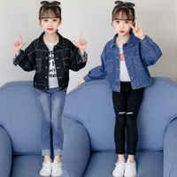 Kurze Stil Kid Denim Jecket Für Mädchen Schwarz Jacke Teen Jacken für Teenager Mädchen Frühling Herbst Casual Tops Oberbekleidung 4 -13 jahre