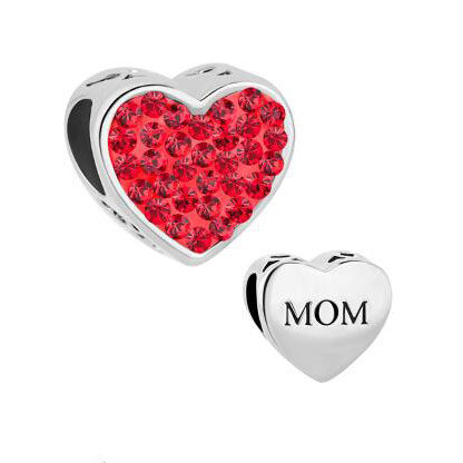 Fit Pandora charm bracelets Mom Light Red Crystal Heart Rhinestone Beads Charms Bracelets beads for jewelry making