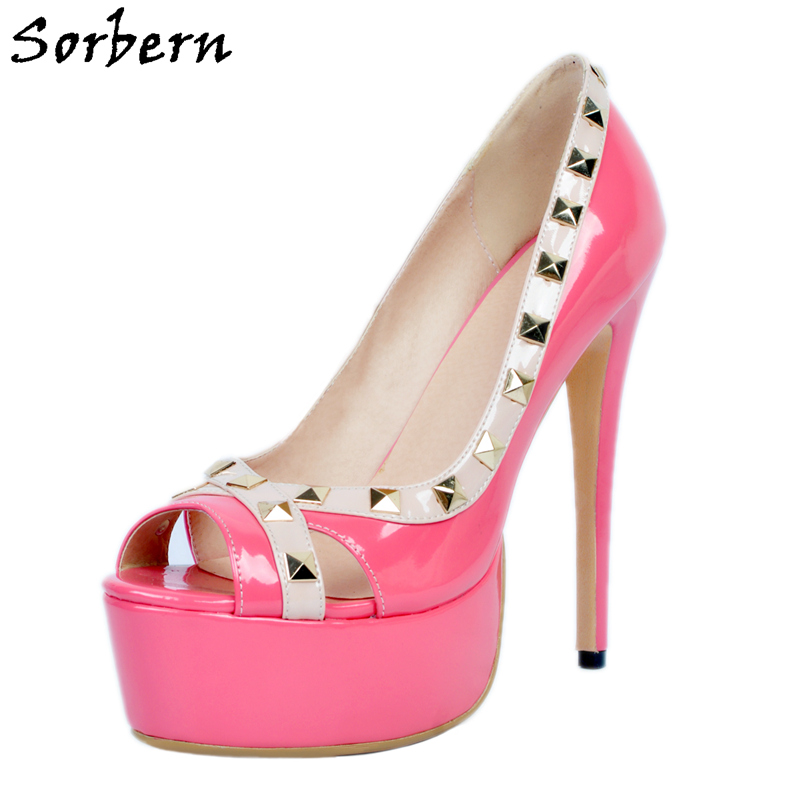 Sorbern Fuchsia Patent Leather Slip On Peep Toe Shoes Women Platform Peep Toe Ladies High Heel Shoes Rivet Platform Heels Big yobang security free ship 7 video doorbell camera video intercom system rainproof video door camera home security tft monitor