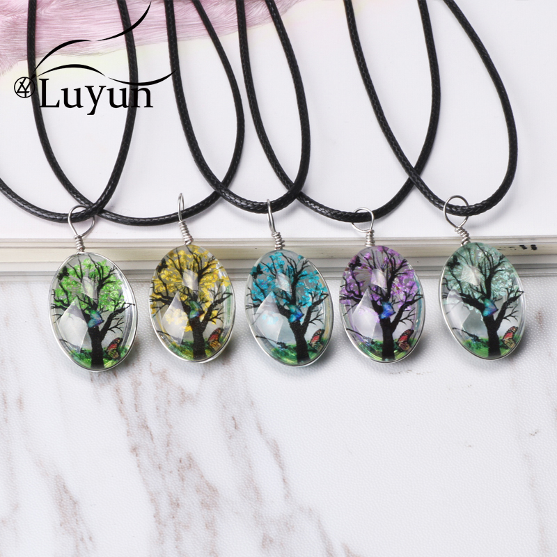 Luyun Tree Of Life Bohemian Ethnic Necklace Crystal Dried Flowers Wholesale