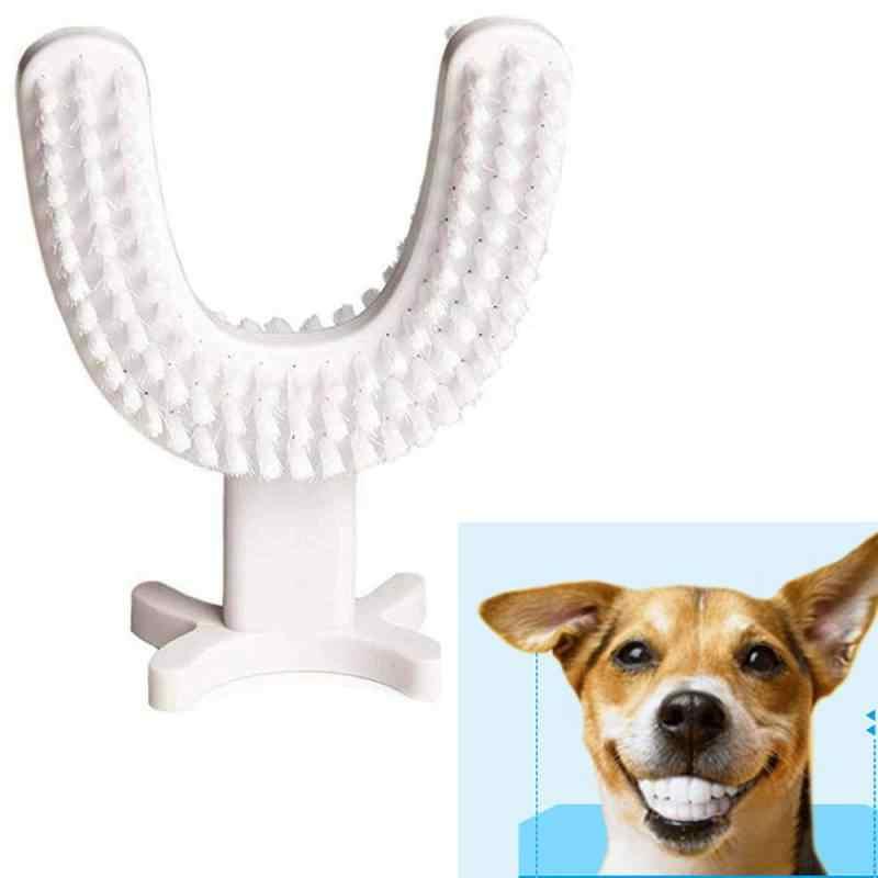 Zwierzęta kot pies zęby szczotki do czyszczenia 360 stopni w kształcie litery U szczoteczka do zębów skuteczne zapach zębów narzędzia do czyszczenia zwierzę zdrowe akcesoria