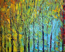 Handmade Abstract Tree Oil Painting on Canvas,Knife Green Beautiful for Living Room, Bedroom Decoration