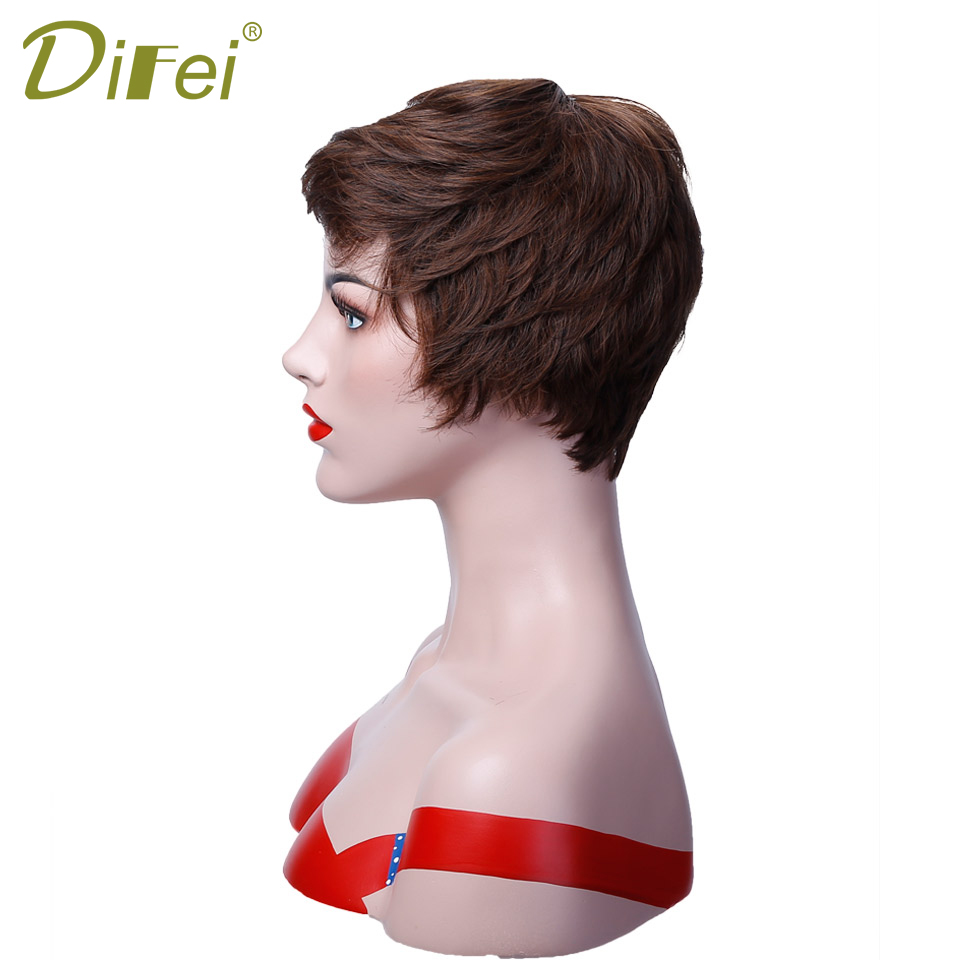 DIFEI Short Hair High Temperature Fiber Wig Cospaly Wig Lady Halloween Party Costume Wig ...