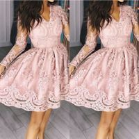 ZTVitality Women Dresses 2018 Hot Sale Pink Embroidery Fashion Dress Elegant Party Dresses A Line Full Sleeve Mesh Sexy Dress