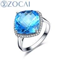 Новое поступление ZOCAI прозрачный синий топаз драгоценный камень ювелирные изделия 7,0 КТ Сертифицированный топаз кольцо 0,18 ct АЛМАЗ 18 K Белое