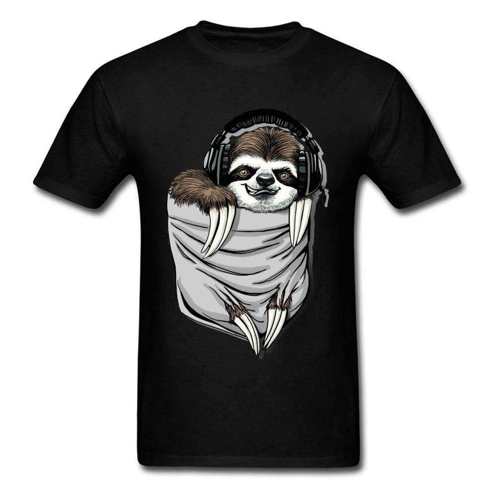 Прочный Шарм DJ Музыкальная гарнитура Ленивец Спортивная футболка мужская Спортивная Футболка серая футболка Kawaii дизайн карманный монстр одежда - Цвет: Black