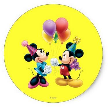 1 5 Inch Mickey Mouse Minnie Verjaardag Klassieke Ronde Sticker In