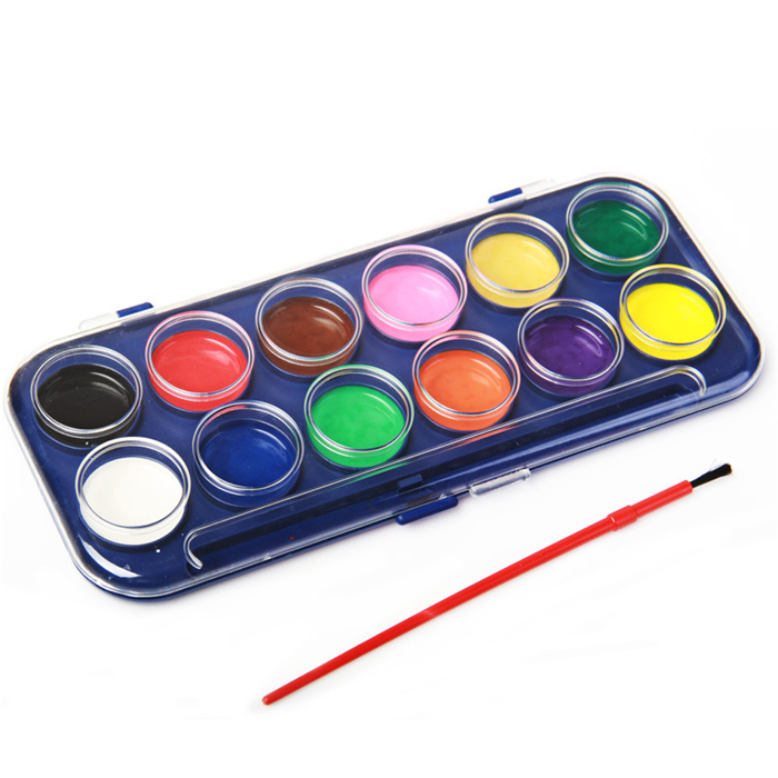 painting tool 12 colors high quality paint with 1 watercolor brush kids drawing set for school. Black Bedroom Furniture Sets. Home Design Ideas