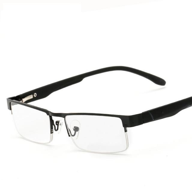 N89 Half Frame Square Metal reading glasses with Spring hinge top ...
