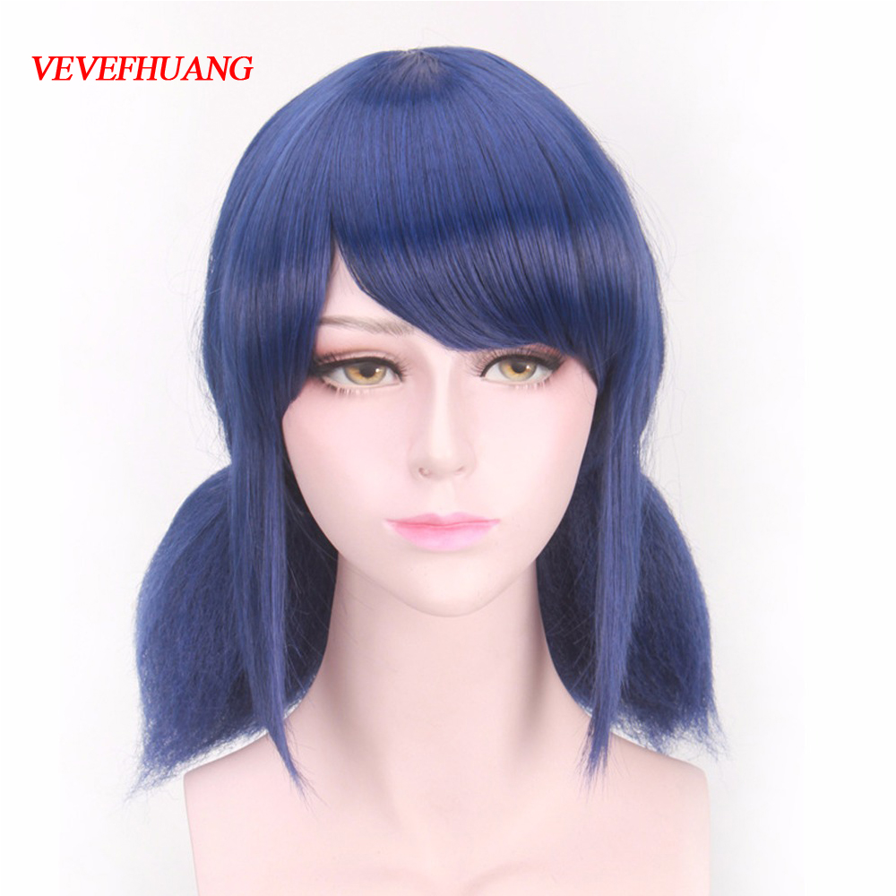 VEVEFHUANG LB Wigs Peluca Marinette Girls Women Cosplay Double Ponytail Braids Short Straight Blue Hair