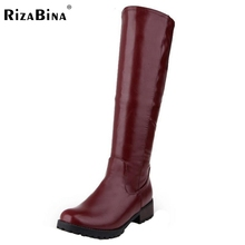 Rizabina size33-47 frauen runde kappe flach über knie boot winter warm freizeit ritter lange boot botas feminina schuhe schuhe p21827