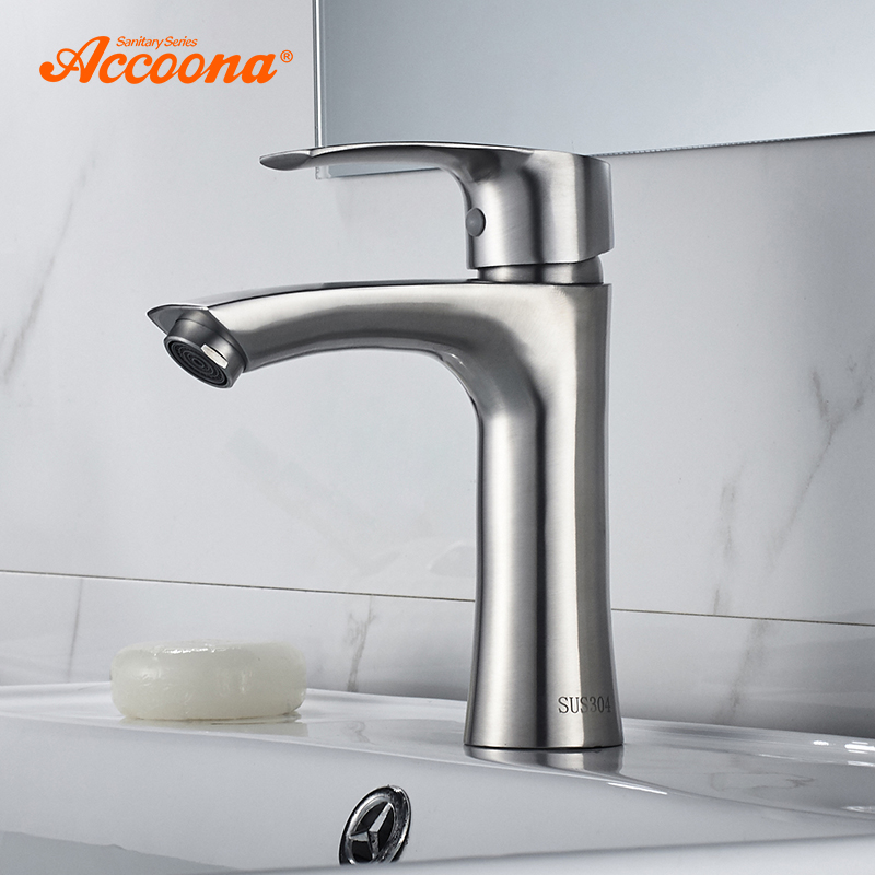 Accoona Basin Faucet Classic Stainless Steel 304 Mixers Sink Tap Single Handle Basin Faucet Modern Hot and Cold Water A9690-1 цена