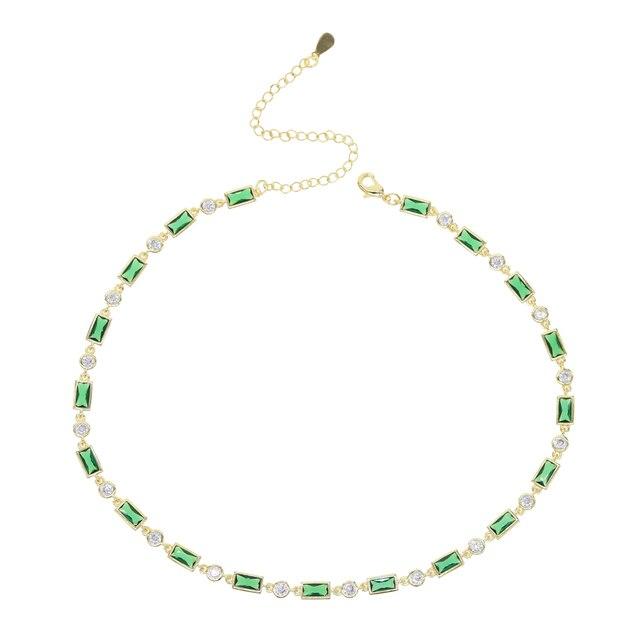 Short Choker Necklace Green...