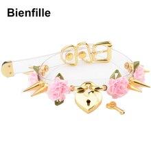 لوليتا لطيف فتاة 100% اليد وضعت الذهب مسنبل قفل القلب طوق مع مفتاح روز الزهور المسامير المختنق قلادة شفافة