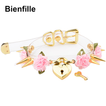 Lolita Cute Girl 100% Hand Crafted  Gold Spiked Lock Heart Collar With Key Rose Flowers Spikes Choker Transparent Necklace