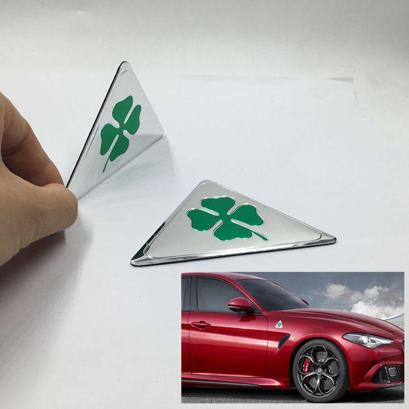 Alfa Romeo quatrefoil green delta Car Side Fender Emblem Badge Sticker for Alfa 4C 147 156 166 159 Giulietta Giulia Spider GT emblem
