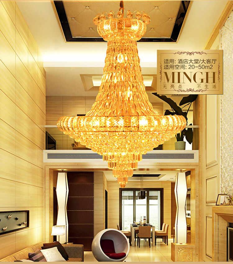 Европейские Роскошные хрустальные люстры с длинными хрустальными подвесками домашняя лестница фойе Ресторан отеля висячая Лампа Золотой клюшки для гольфа, подвесные лампы D80cm * H90cm