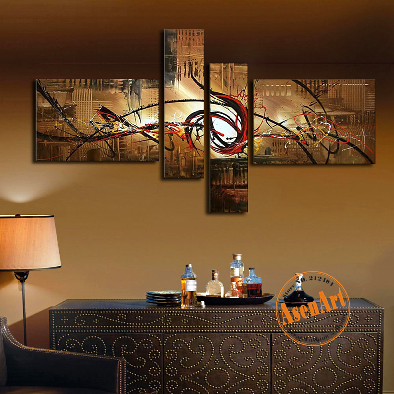 4 pièces peint à la main brun peinture à l'huile ensemble moderne peinture à l'huile abstraite sans cadre toile Art mural pour salon Art mur photo