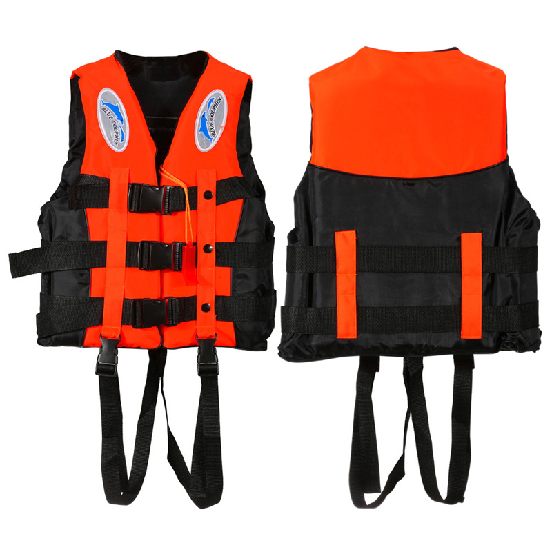 Polyester Life Jacket for  Kids Universal Outdoor Swimming Boating Ski Drifting Vest Survival Suit with Whistle S-XXXL