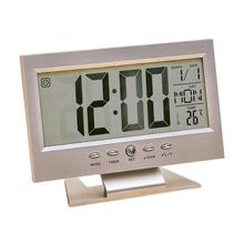 LCD Alarm Clock Voice Control Perpetual Calendar Timer Electronic Desk Alarm Clock Fashionable Digital Perpetual Calendar Clocks стоимость