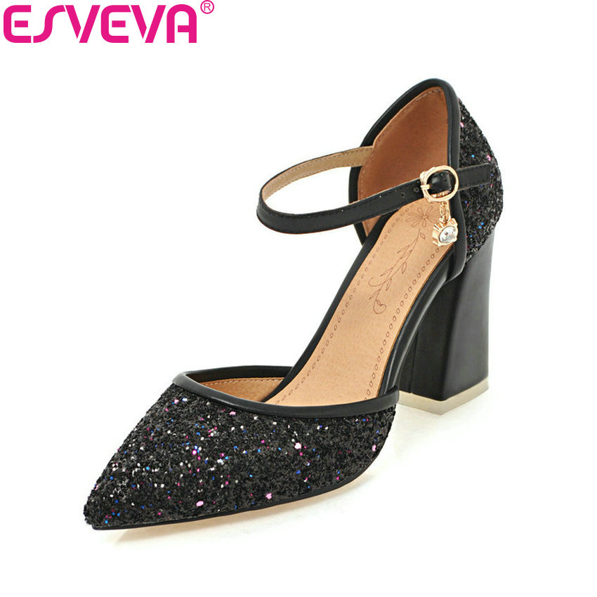 ESVEVA 2018 Women Pumps Pointed Toe Bling PU Leather Square High Heels Buckle Strap Western Style Black Ladies Shoes Size 34-43 black square heel pointed toe hollow shoes women buckle strap fashion ankle strap high heels pumps white summer plus size ladies