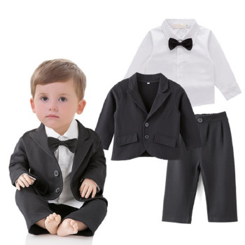 toddler boys clothing 3pcs black jacket+pants+white shirt boys gentleman bow tie outfits infant formal suits party baby clothes conjuntos casuales para niñas