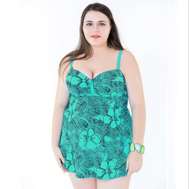 2018 Leaf Print Plus Size Tankini Set Summer Bright Padded Plus Size Swimwear Women Monokini Large Girls Bathing Suits