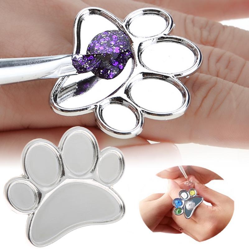 Genial 1 Stück Mini Nail Art Metall Finger Ring Palette Mischen Acryl Gel Polnischen Malerei Zeichnung Farbe Malen Gericht Kleber Paletten Werkzeuge Grade Produkte Nach QualitäT