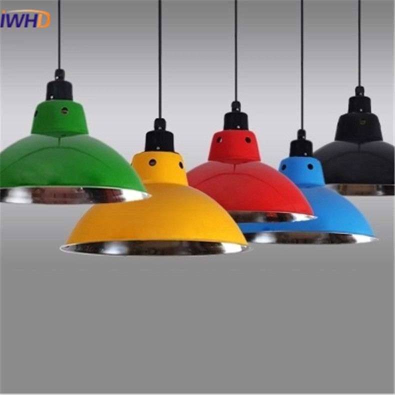 все цены на IWHD Nordic Modern Colorful Auminum Pendant Lamp for Restaurant Bar Dinning Room E27 110V 220V Pendant Lights For Decor Lighting