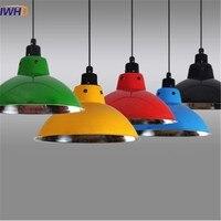 IWHD Nordic Modern Colorful Auminum Pendant Lamp for Restaurant Bar Dinning Room E27 110V 220V Pendant Lights For Decor Lighting