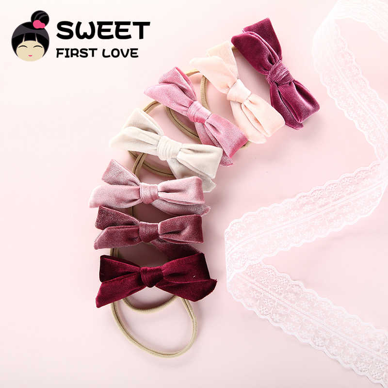 1pcs Lovely velvet headbands or Hair Clips for baby girls cute bows nylon headband hairpins soft elastic Hair Accessories