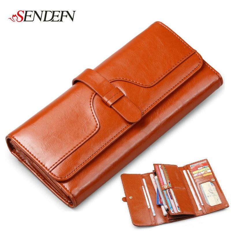 SENDEFN Quality Cow Leather Women Wallets Clutch Money Credit Card Holders Long Luxury Split Leather Wallet Female Phone Purse