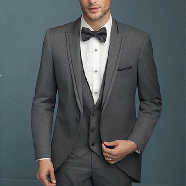 2017 New Men Deep Grey Suits Fashion Designer Wedding Groom Tuxedo ...