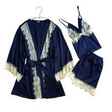 1937 роскошный Для женщин халат Пижамы для девочек 2017 искусственного шелка дамы 3 шт. Кружево шелковистые пижамы Брюки для девочек комплект пижамы сна гостиная