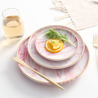 Cocostyles InsFashion fantastic pink marble pattern ceramic breakfast tray with gold edge for romantic bohemia style restaurant