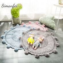 Simanfei Knitted Floor Mat  2019 Hand Woven Carpets Round rug Wave window Pad Bedroom Decor Kids Play Rug Bedroom props Tapis retro window stone wall print floor rug