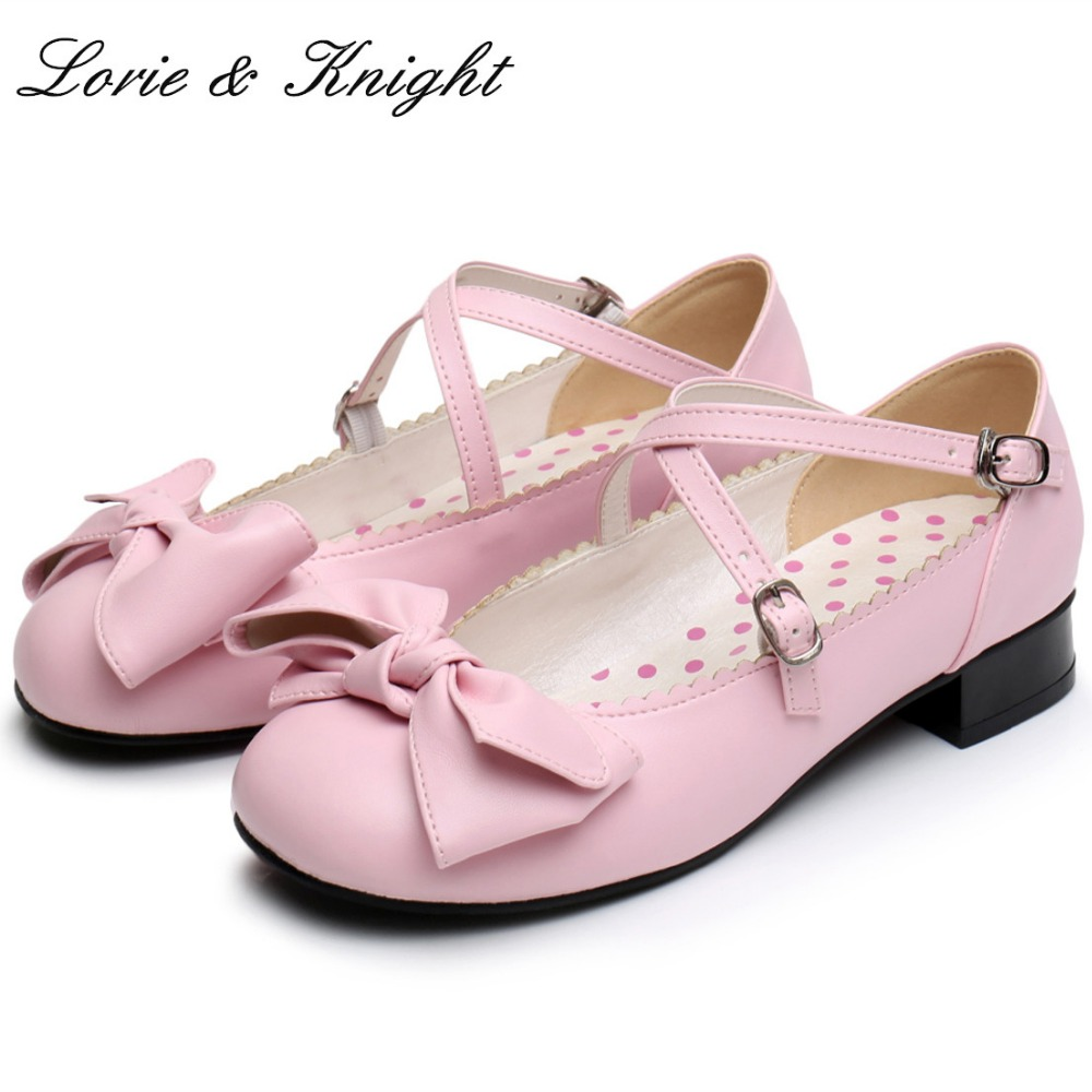 Japanese Sweet Style Champagne Bowtie Mary Jane Ballet Shoes Princess Dolly Lolita Soft Shoes princess poppy ballet shoes