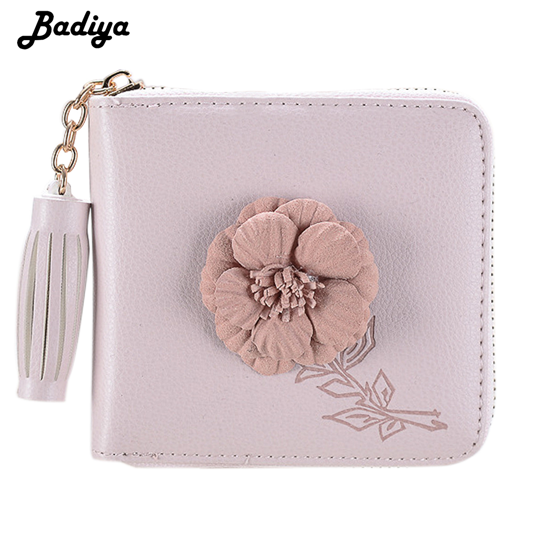 Women Small Flower Wallet Tassel Short Money Bag PU Leather Lady Zipper Coin Pocket Purse Female ID Credit Card Holder Clutch fashion small wallet women short luxury brand cute female purse pu leather cat design girls lady zipper wallets card holder bags