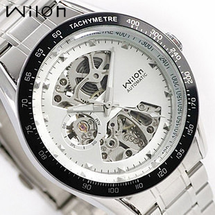 Good quality HK Brand Wilon Mechanical Hand Wind Man Gift watches business Full Stainless steel Hollow Luxury Male Dress Watch все цены