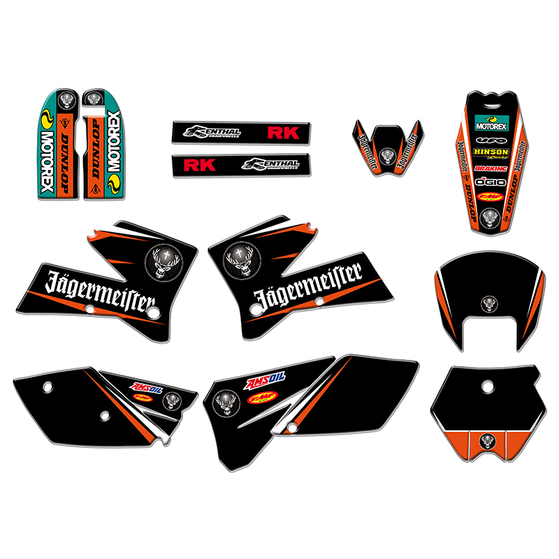NEW TEAM GRAPHICS STICKER DECAL WITH MATCHING BACKGROUNDS FIT FOR KTM SX125 250 380 400 520 2005 2006NEW TEAM GRAPHICS STICKER DECAL WITH MATCHING BACKGROUNDS FIT FOR KTM SX125 250 380 400 520 2005 2006