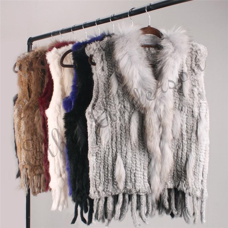 ETHEL ANDERSON Genuine Women's Rabbit Fur Vest Gilet Tassels Real Fur Coat Kintted Waistcoat Raccoon Fur Collar Outwear