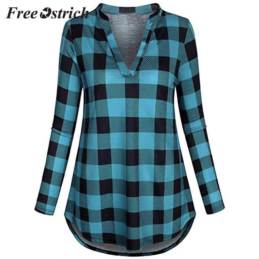 Trasporto di Struzzo Camicette Magliette e camicette delle Donne Split Con Scollo A V Lungo Sleve casual Roll-up Plaid Tunica Camicette Magliette e camicette di Modo camicia di Plaid Per Le Donne