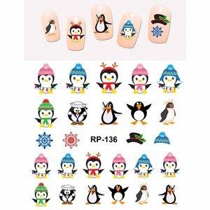 Image 2 - נייל אמנות יופי נייל מדבקת מים מדבקות מחוון קריקטורה חג המולד חג המולד ציפור חמוד פינגווין RP133 138