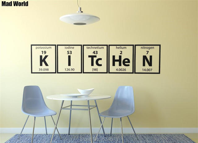 Mad World Periodic Table Of Elements Kitchen Cooking Wall Art Stickers Decal Home Decoration