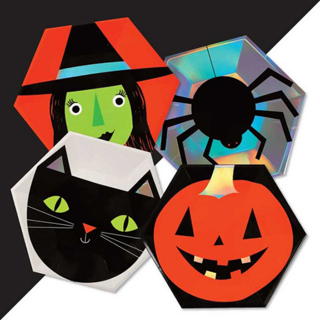 Halloween Party Plates Cat Witch Spider Plate Pumpkin Decoration Tableware Set 10 Inch