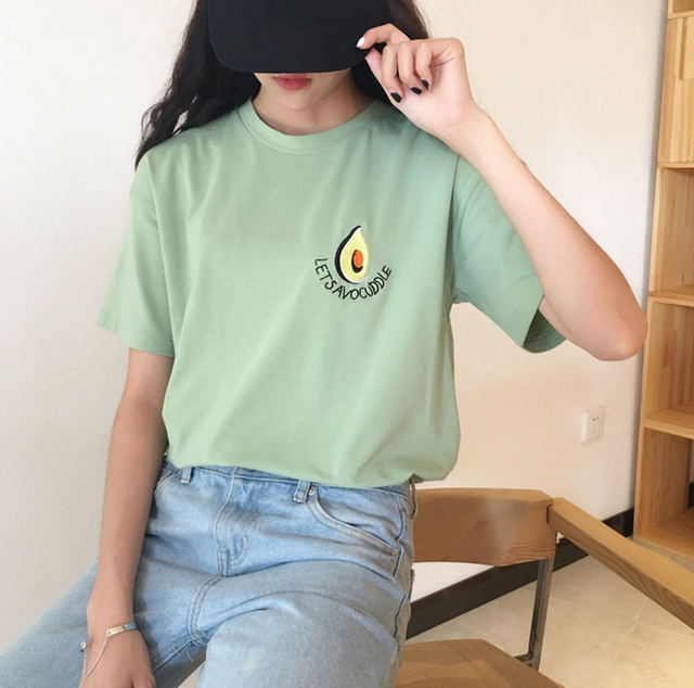 08f9a03e3dc 2018 New Summer Cute Avocado Embroidery Short Sleeve T shirt Loose T Shirt  Small Fresh Casual Tees Tops Female -in T-Shirts from Women s Clothing on  ...