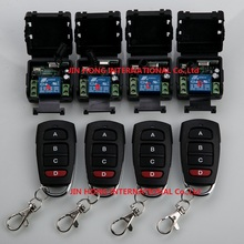 New Home Automation DC12V 10A 1CH RF Wireless Remote Control Switch System teleswitch 4 *Transmitters & 4* Receiver for Access