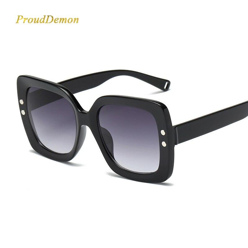 Prouddemon Italy Oversized Square Sunglasses Women Luxury Brand Designer Rivet Big Frame Sun Glasses For Female Des lunettes