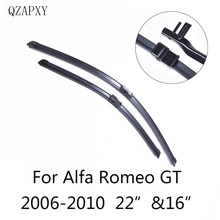 Front and Rear Wiper Blades for Alfa Romeo GT from 2006 2007 2008 2009 2010 Car Accessories Windscreen Wipers Car-styling cheap QZAPXY Natural rubber 366g Clean Car windshield ISO9001 QZ-AL007 Boneless wipers Two Pieces plastic rubber+iron 22 16